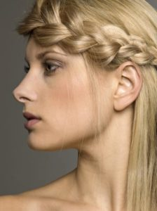 Woman with braid in hair